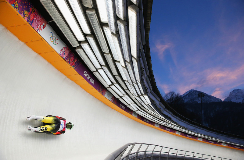 . Natalie Geisenberger of Germany in action during run 3 in the Women\'s Luge Singles on Day 4 of the Sochi 2014 Winter Olympics at Sliding Center Sanki on February 11, 2014 in Sochi, Russia.  (Photo by Julian Finney/Getty Images)