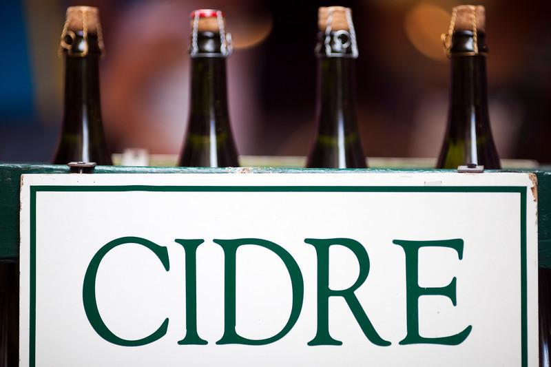 Bottles of cider, Vannes, department of Morbihan, region of Brittany, France