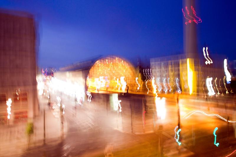 Alexanderplatz by night, Berlin, Germany. Intentional camera shake.
