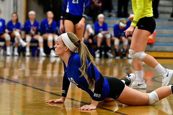 11/8/2018 Mike Orazzi | Staff Bristol Eastern High School's Amber Blais (19) during the Class L Second Round State Girls Volleyball Tournament in Bristol Thursday night.