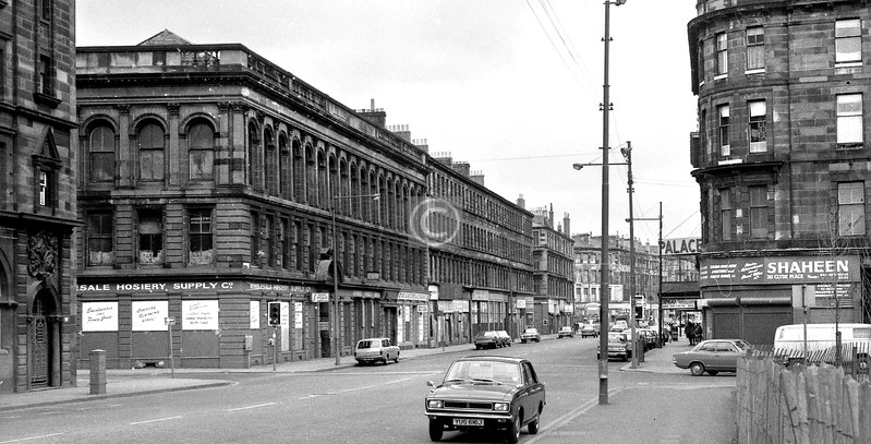 Gorbals St, looking north from south of Cleland St.    April 1973