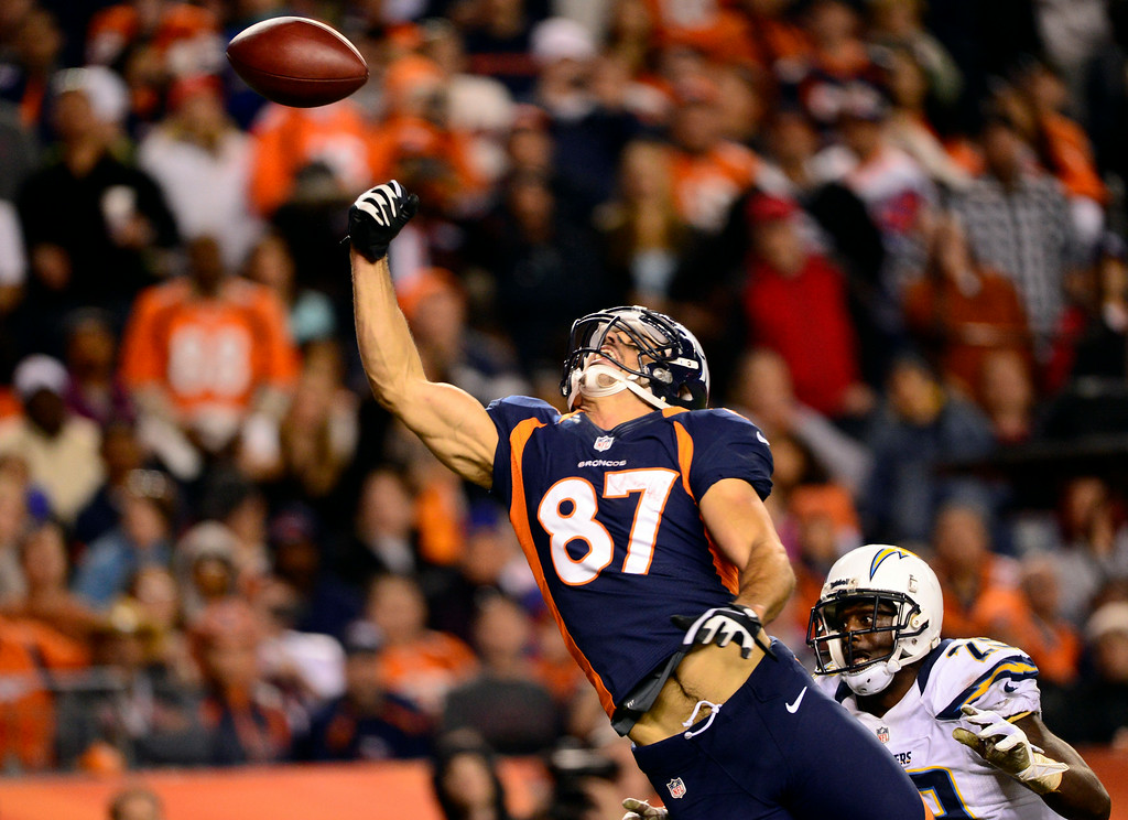 . Former Bronco receiver Eric Decker misses an attempted touchdown pass. (AAron Ontiveroz, The Denver Post)