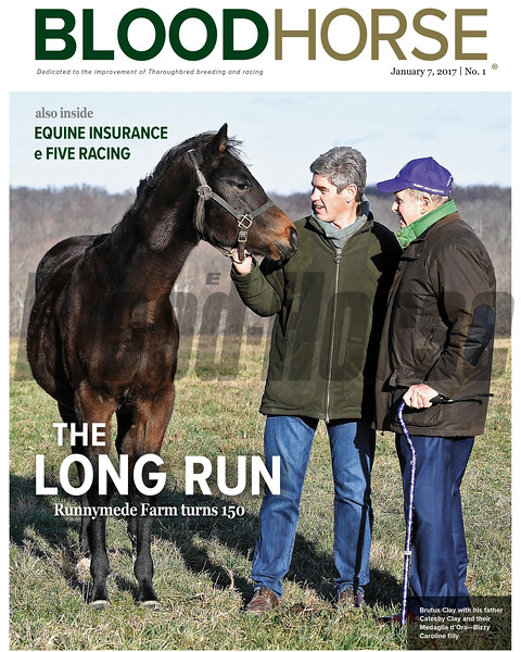 January 7, 2017 issue 1 cover of BloodHorse featuring The Long Run as Runnymede Farm Turns 150, also inside Equine Insurance and e Five Racing.