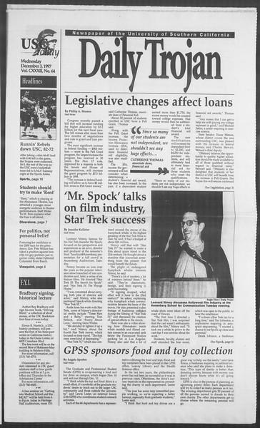 Daily Trojan, Vol. 132, No. 64, December 03, 1997