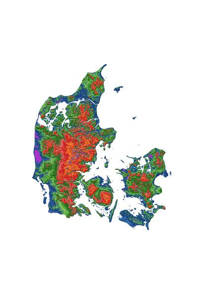 Elevation map of Denmark
