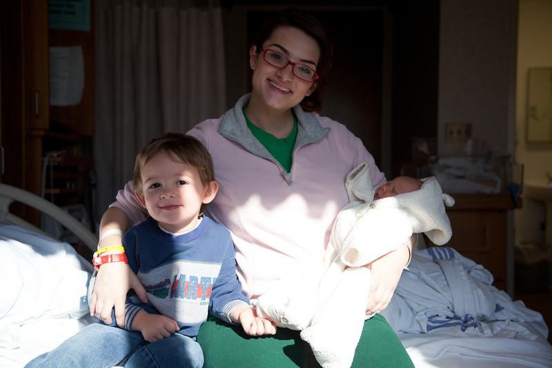 Jill Grabiec with Hunter and Henry at Sarah Bush Lincoln Hospital in Mattoon, Illinois on November 17,  2011. (Jay Grabiec)