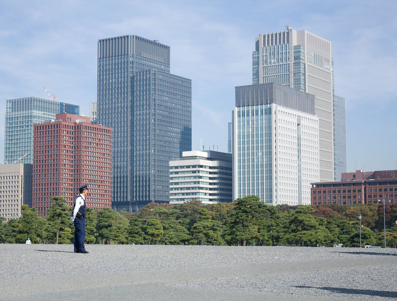 View of Tokyo City from the East entrance of the Imperial Gardens