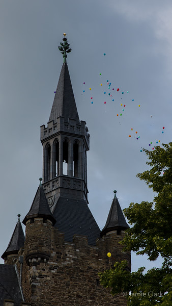 Balloons over the Rathaus. Aachen, Germany