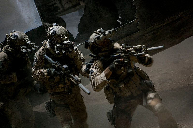". Navy SEALs close in on Osama bin Laden in Kathryn Bigelow\'s ""Zero Dark Thirty.\"" Provided by Columbia Pictures."