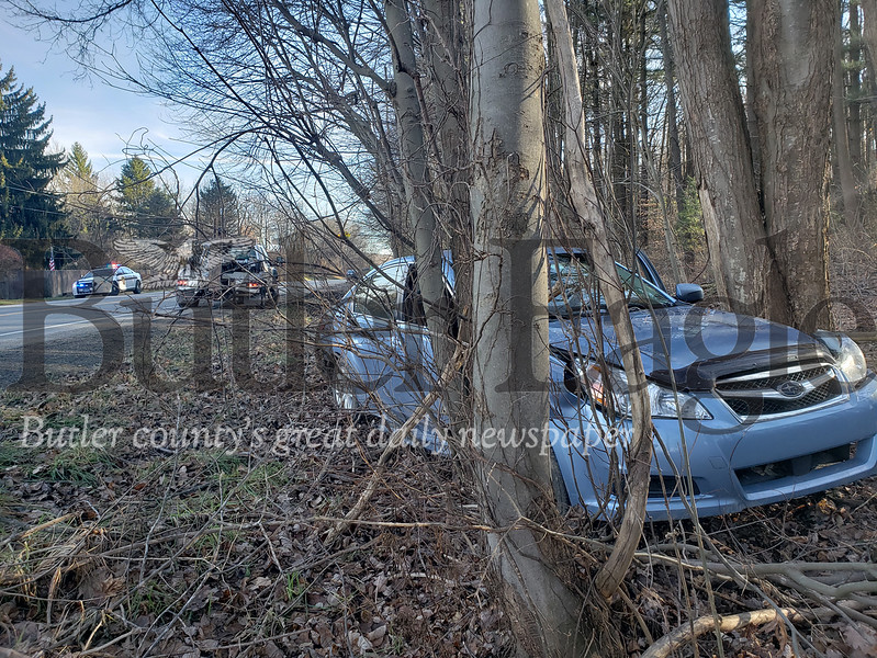An 86-year-old woman told police that she fell asleep while driving on Route 8 in Brady Township. Her vehicle ended up crammed between two trees. Tanner Cole/Butler Eagle