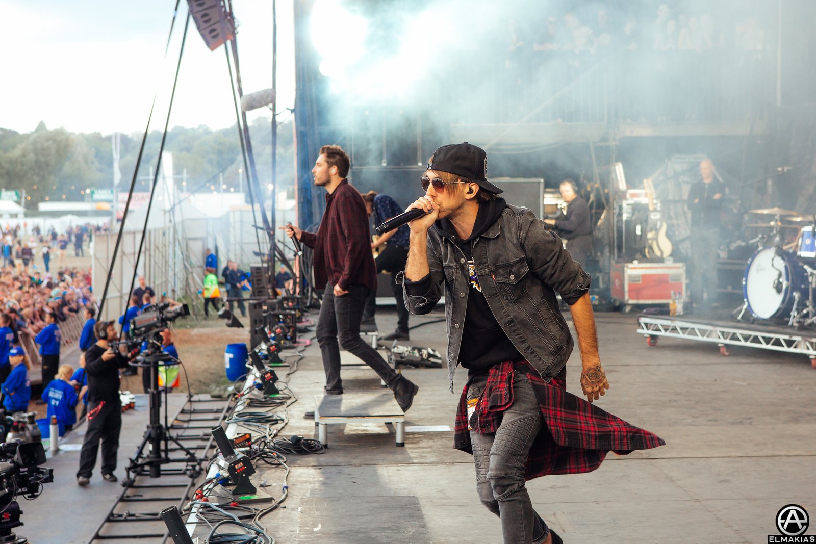 Alex of All Time Low and Josh of You Me At Six live at Reading Festival