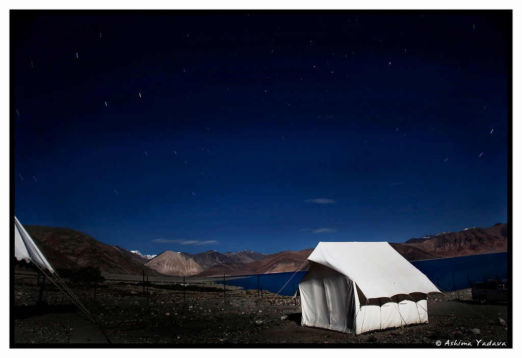 Pangong Tso, at midnight under the stars and oh the gorgeous full moon, Ladakh.