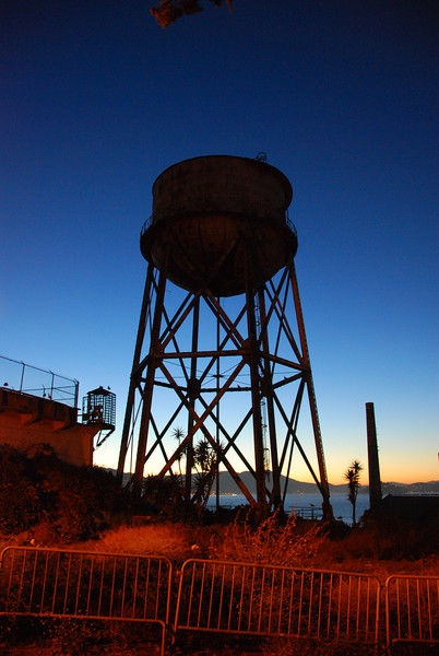 The Alcatraz water tower at dusk.  I didn't have much time to shoot this because we were making a mad dash for the boat that we ended up missing.