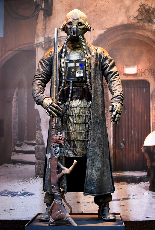. Star War\'s Rogue One character Two Tubes sits on display at the Star Wars booth on day two of Comic-Con International held at the San Diego Convention Center Friday July 22, 2016 in San Diego.  (Photo by Denis Poroy/Invision/AP)
