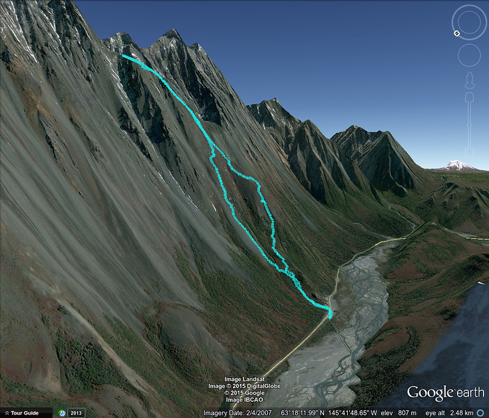 Google Earth visualization of my hiking route up to the base of Rainbow Mountain