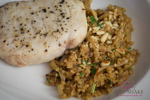 Pilaf served with broiled kajiki (marlin). © 2013 Sugar + Shake