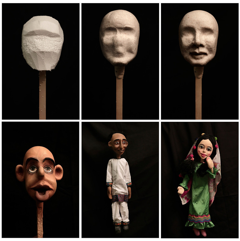 . In this combination of six photos taken April 24, 2018, puppets made by Egyptian artist Mohamed Fawzi Bakkar, are displayed against a black backdrop, at his workshop, in Cairo, Egypt. Bakkar designs and builds marionettes from scratch, hoping to revive a traditional art. The 32-year-old spends hours or even days designing puppets inspired by Egyptian life -- farmers, street vendors, butchers and the occasional celebrity. (AP Photo/Nariman El-Mofty)