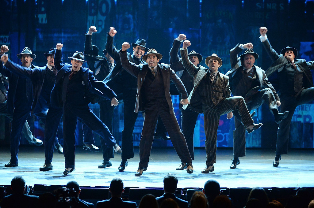 """. The cast of \""""Bullets over Broadway\"""" performs onstage during the 68th Annual Tony Awards at Radio City Music Hall on June 8, 2014 in New York City.  (Photo by Theo Wargo/Getty Images for Tony Awards Productions)"""