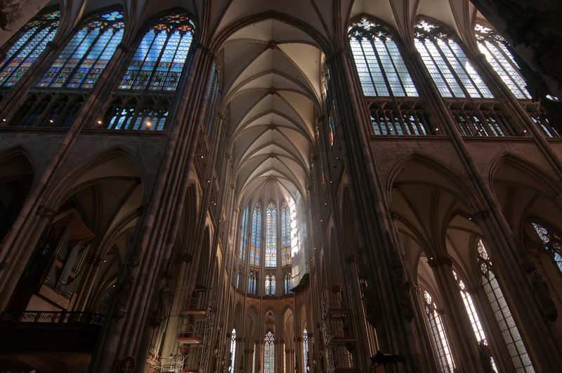 Pillars and high ceiling at Cologne Cathedral - Germany