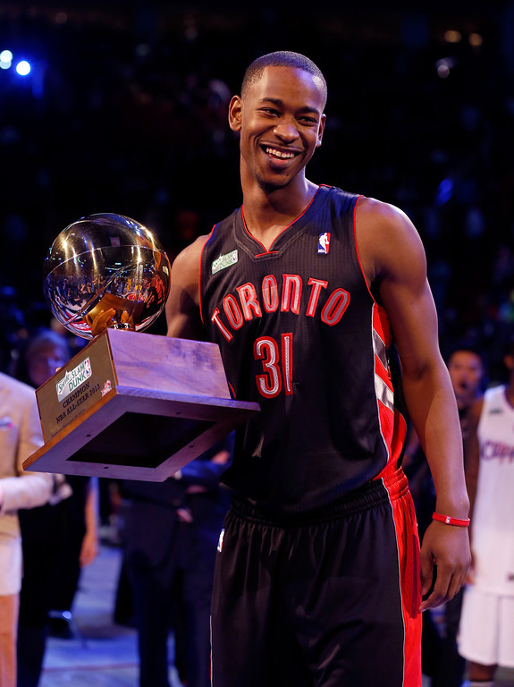 . HOUSTON, TX - FEBRUARY 16:  Terrence Ross of the Toronto Raptors celebrates after winning the Sprite Slam Dunk Contest part of 2013 NBA All-Star Weekend at the Toyota Center on February 16, 2013 in Houston, Texas.  (Photo by Scott Halleran/Getty Images)