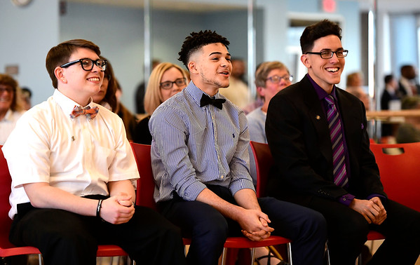 4/4/2019 Mike Orazzi | Staff Bristol Boys & Girls Club Youth of the Year candidates, left to right: Logan Cote, Jeremy Artis and Stanley Cardona Thursday evening. Stanley Cardona was chosen as this year's winner.