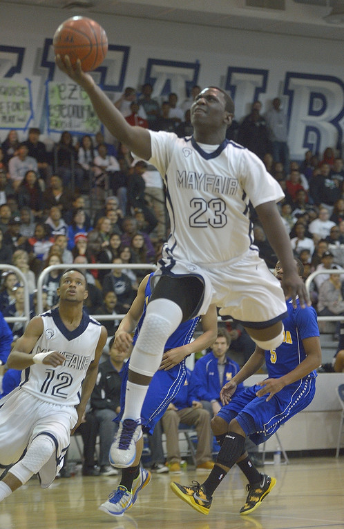 . LAKEWOOD, CALIF. USA -- Mayfair\'s Eze Egeonuigwe (33) against La Mirada in Lakewood, Calif., on February 8, 2013. Mayfair defeated La Mirada 60 to 59. Photo by Jeff Gritchen / Los Angeles Newspaper Group