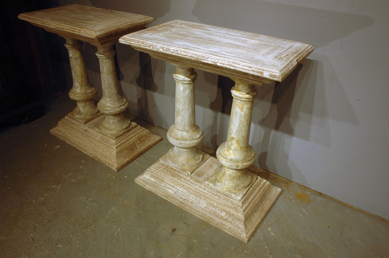 Side Tables, made using Antique ballistrates and reclaimed hard wood trim. Design by:Julian Maison