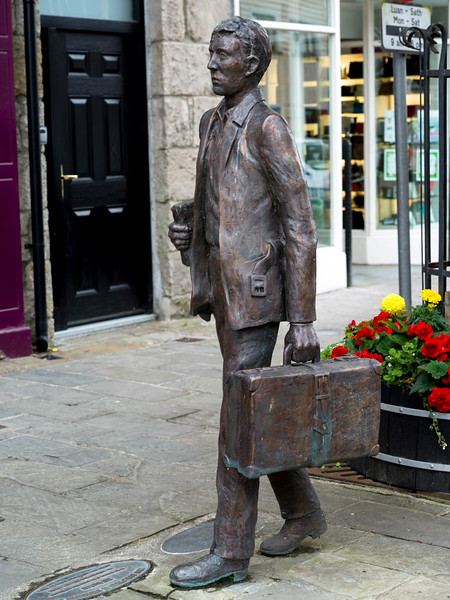 I'll Send You The Fare, bronze sculpture by Sally McKenna, Kiltimagh, County Mayo, Republic of Ireland