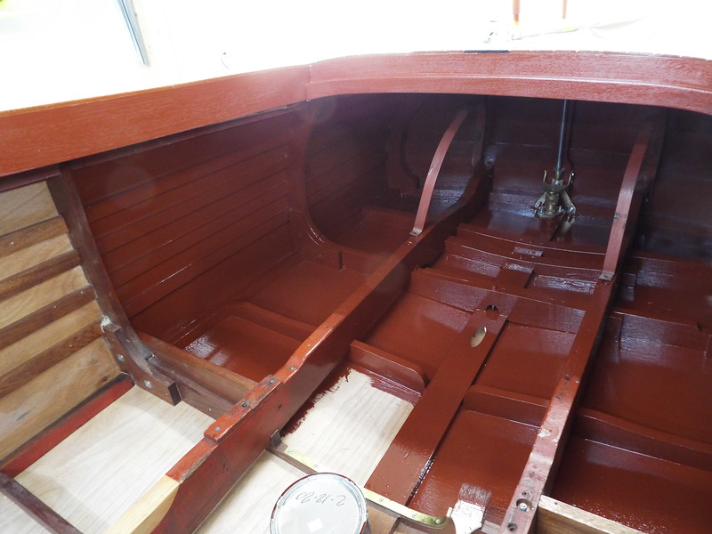 Another view of the inside of the hull being painted.