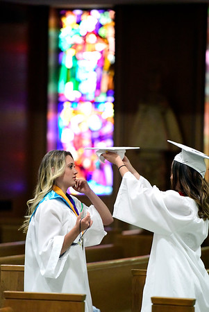6/4/2019 Mike Orazzi | Staff St. Paul's Hannah Mulcahy and Madelyn Corey during commencement exercises at the Cathedral of Saint Joseph in Hartford Tuesday evening.