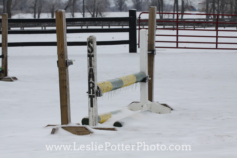 Show Jumps Encased in Ice