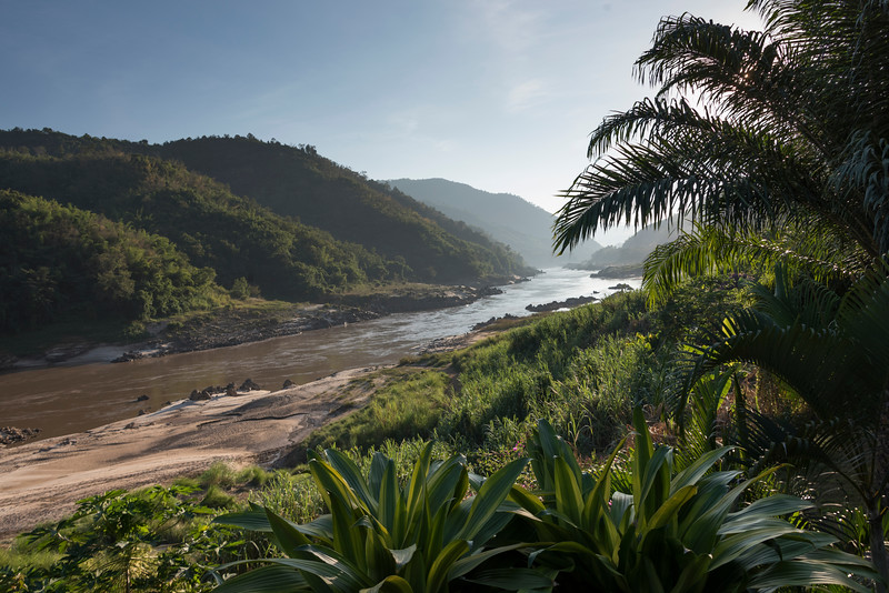 Scenic view of river flowing through mountains, River Mekong, Oudomxay Province, Laos