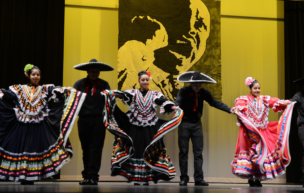 . Members of the Latino Unidos dancers perform a traditional Mexican folkloric dance in celebration of Martin Luther King Jr. at an event held at the Creative Arts Building on Martin Luther King Jr. Day in Pittsburg, Calif., on Monday, Jan. 21, 2013. Olympic bronze medalist John Carlos, who raised a fist in a controversial human rights salute in 1968, was the keynote speaker at the event.  (Susan Tripp Pollard/Staff)