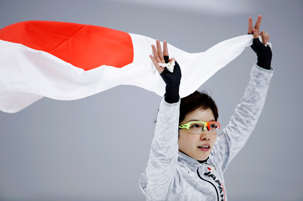 . Silver medallist Japan\'s Nao Kodaira celebrates after the women\'s 1,000 meters speedskating race at the Gangneung Oval at the 2018 Winter Olympics in Gangneung, South Korea, Wednesday, Feb. 14, 2018. (AP Photo/Vadim Ghirda)