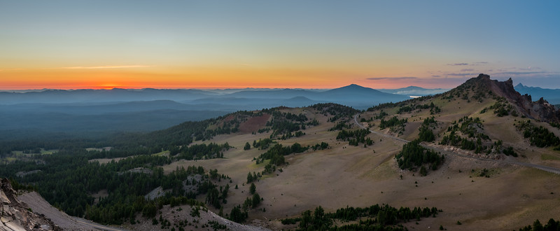 Sunset over Hillman Peak at Crater Lake