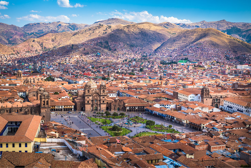 Aerial view of the Cusco valley