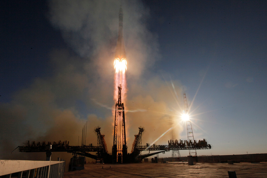 . The Soyuz-FG rocket booster with Soyuz TMA-11M space ship carrying a new crew to the International Space Station (ISS) blasts off at the Russian leased Baikonur cosmodrome, Kazakhstan, Thursday, Nov. 7, 2013. The Russian rocket carries Japanese astronaut Koichi Wakata, Russian cosmonaut Mikhail Tyurin and U.S. astronaut Rick Mastracchio who will deliver an Olympic torch to space as part of the ongoing Olympic torch relay. The torch will be brought back along with the station\'s current crew. (AP Photo/Dmitry Lovetsky)