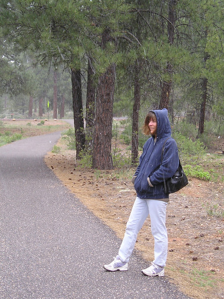 """Back at camp, we started walking to catch the shuttle bus, and then it started hailing/snowing. Our sentences were sprinkled with """"I can't believe this!"""""""