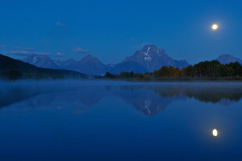 Grand Teton National Park.  Early sunrise (moon set) at the Oxbow.