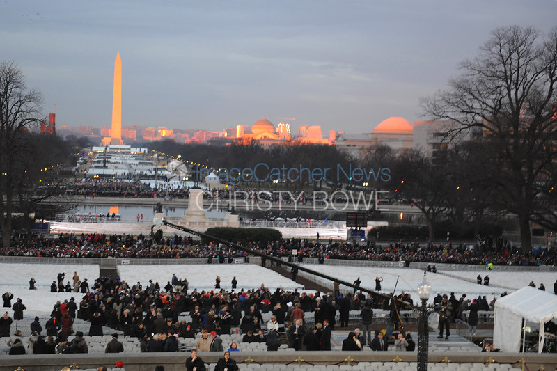 Preparations for the Inauguration are in progress at dawn from the Capitol.