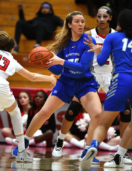 12/21/2019 Mike Orazzi | Staff CCSU's Ashley Berube (33) during Saturday's women's basketball game with The University of Hartford in West Hartford.