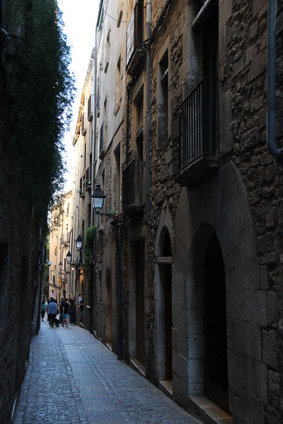 Narrow street in Girona, Spain.