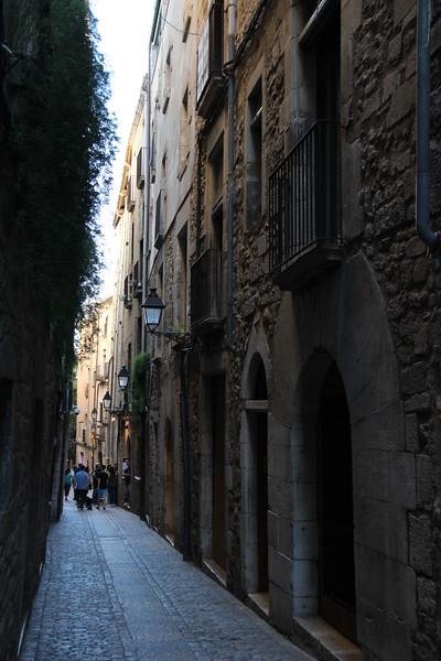 Narrow street in Girona, Spain.