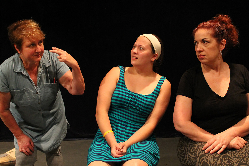 ". Barbara Katz-Howitt, Rebecca Semencik and Theresa Dean share a scene in ""Relative Strangers,\"" one of a trio of short plays that are part of \""Going Places.\"" The show is June 29 through July 14 at the Chagrin Valley Little Theatre\'s River Street Playhouse. For more information, visit cvlt.org. (Submitted)"
