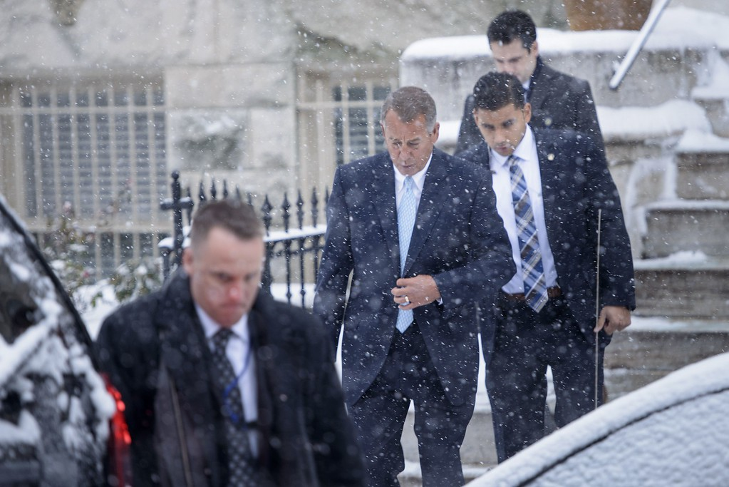. Speaker of the House John Boehner, R-OH, leaves a church service on Capitol Hill January 6, 2015 in Washington, DC. The 114th Congress convened today with Republicans taking majority control of both the Senate and House of Representatives. BRENDAN SMIALOWSKI/AFP/Getty Images