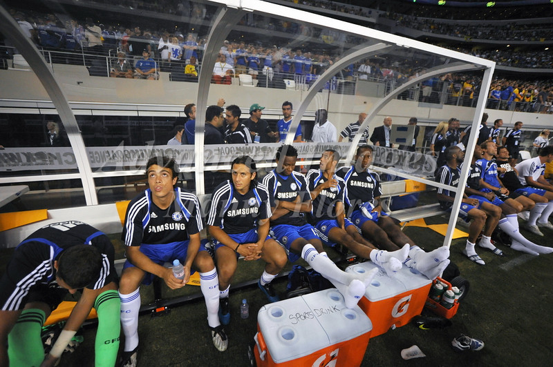 July 26 2009 World Football Challenge - Chelsea FC v Club America:  Chelsea players wait for gametime at the Cowboys Stadium in Arlington, Texas. Chelsea FC beats Club America 2-0.