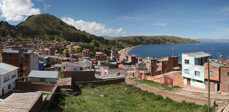 Copacabana village at the lake Titicaca, which is located on the border of Bolivia and Peru, and its elevation is 3812m above sea level.