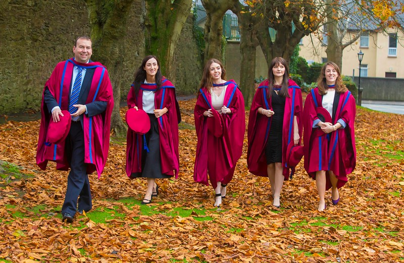 30/10/2015. Waterford Institute of Technology Conferring.  Pictured are newly Conferred PHD's. pictured from left, David Phelan, Waterford, Anne Marie Burns, Cavan, Tracey Coady, Waterford, Katherine Meagher, Waterford and Sarah Duggan, Waterford. Picture: Patrick Browne