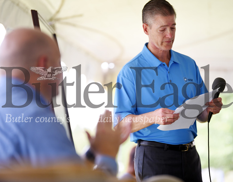 Harold Aughton/Butler Eagle: Bill Prettyman pauses after thanking his wife, Joy, for all of her support as Wise Business Forms celebrated 50 years of business, Monday, August 19, 2019.