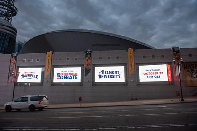 Debate 2020 signs at Bridgestone Arena and interstate